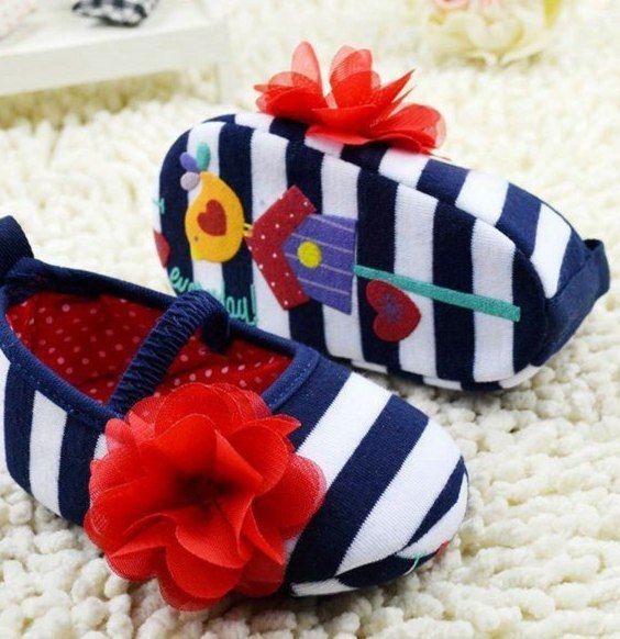 Indah Bayi Pertama Walkers Gadis Sepatu Prewalker Bayi Bergaris Bunga Dekorasi Lembut Elastis