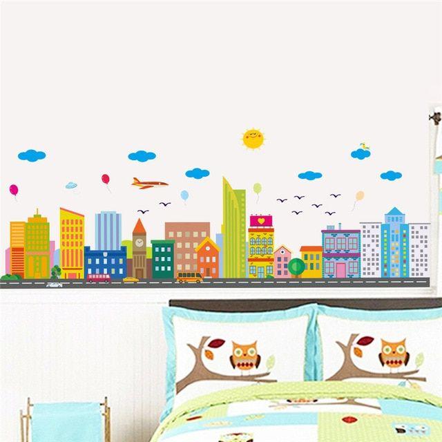 Bangunan Kota Modern Stiker Dinding Ruang Tamu Dekorasi Rumah Diy Landscape Pemandangan Mural Art Kreatif Dinding