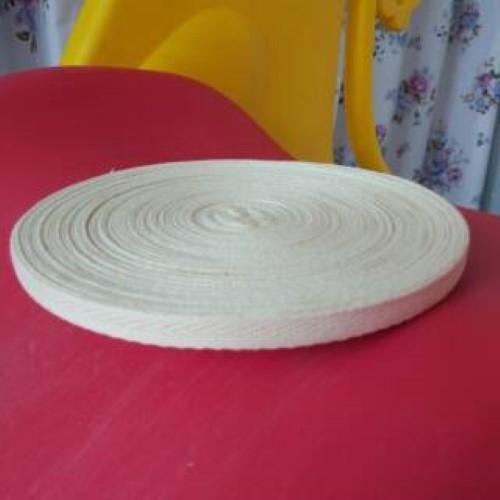 Webbing bisban pelipit katun RAW white 1 cm 10 meter