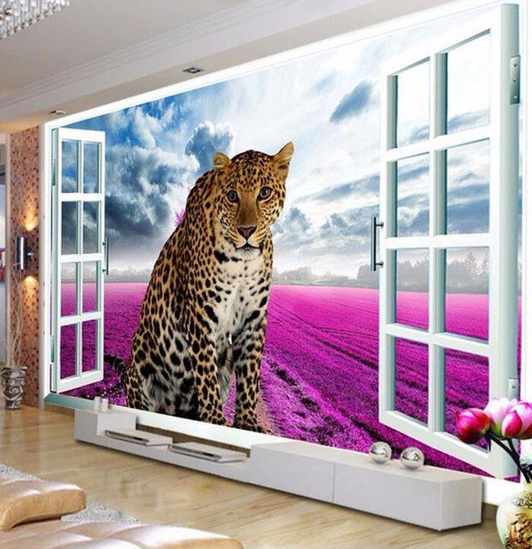Dekorasi Ruang Tamu Rumah Flat Berguna ヾ ^▽^ ノkustom 3d Foto Wallpaper Window Leopard Lavender Latar