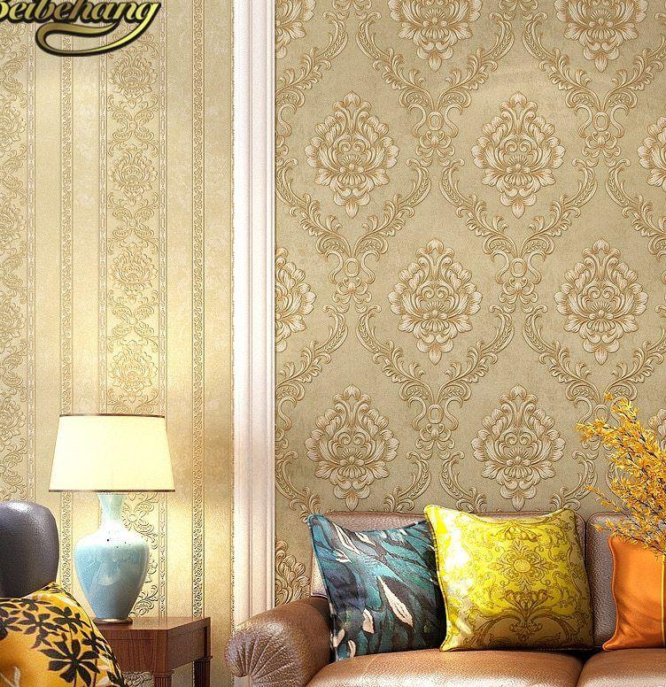 Beibehang 3D Timbul Stripes Kertas Dinding Dekorasi Rumah Eropa Wallpaper Non woven untuk Ruang Tamu Kamar Tidur Damaskus Latar Belakang