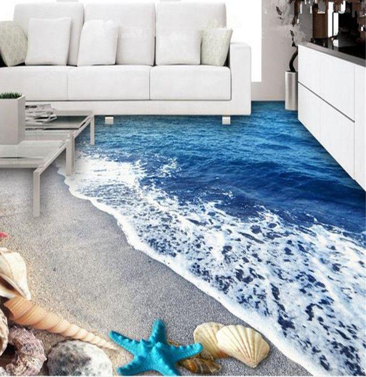 PVC Wallpaper untuk Dinding 3D Lantai Mural Kertas Dinding Dekorasi Rumah Lukisan Ruang Tamu Mewah Kamar Mandi Lantai Wallpaper Biru