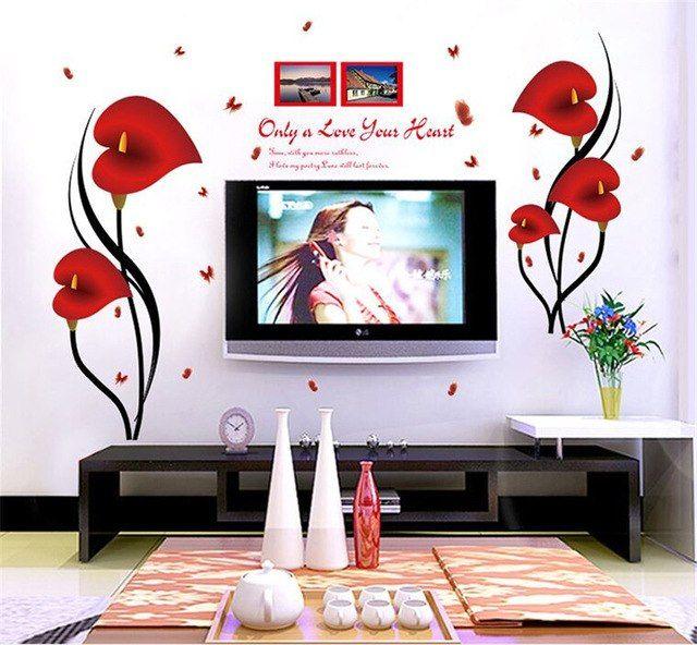 Dekorasi Stiker Romantis Bunga Kertas Dinding untuk Dekorasi Rumah Kaca Stiker Dinding untuk Ruang Tamu TV