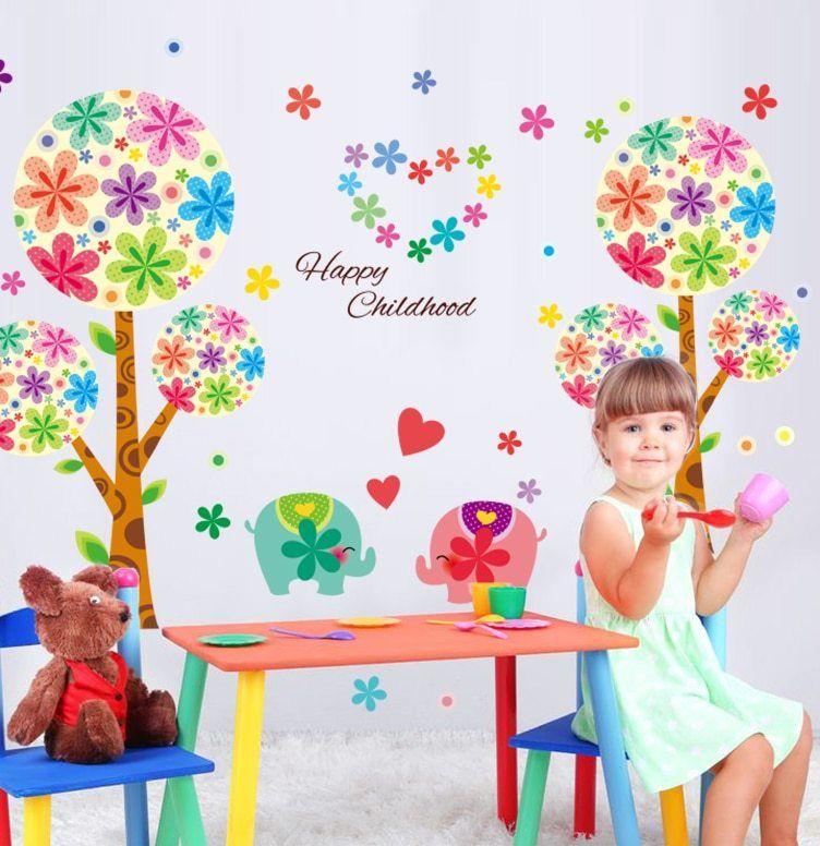 [SHIJUEHEZI] indah Gajah Pohon Stiker Dinding untuk Dekorasi Rumah Ruang Tamu Bayi Anak Dekorasi Kamar Vinyl DIY Wall Art