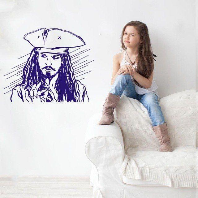 Dekorasi Ruang Tamu Rumah Teres Power Dinding Decal Vinyl Sticker Captain Jack Sparrow Kamar Tidur Ruang