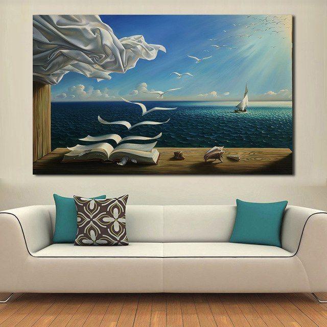 Dekorasi Ruang Tamu Sempit Berguna Seagul Jqhyart Lukisan Minyak Gelombang Laut Abstrak Dinding Seni