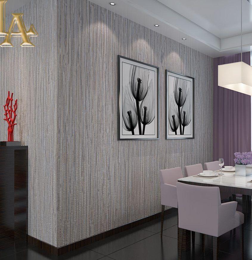 Dekorasi Ruang Tamu Tanpa sofa Bermanfaat ᑐnonwoven Menutup Dinding Bertekstur Sederhana Bergaris Wallpaper