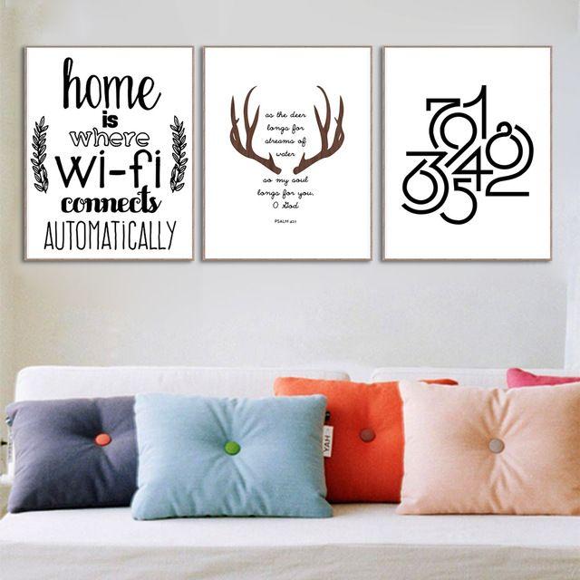 Abstrak Deer Rumah Wifi Quotes Besar Canvas Art Print Poster Dinding Gambar Lukisan Tanpa Bingkai Ruang