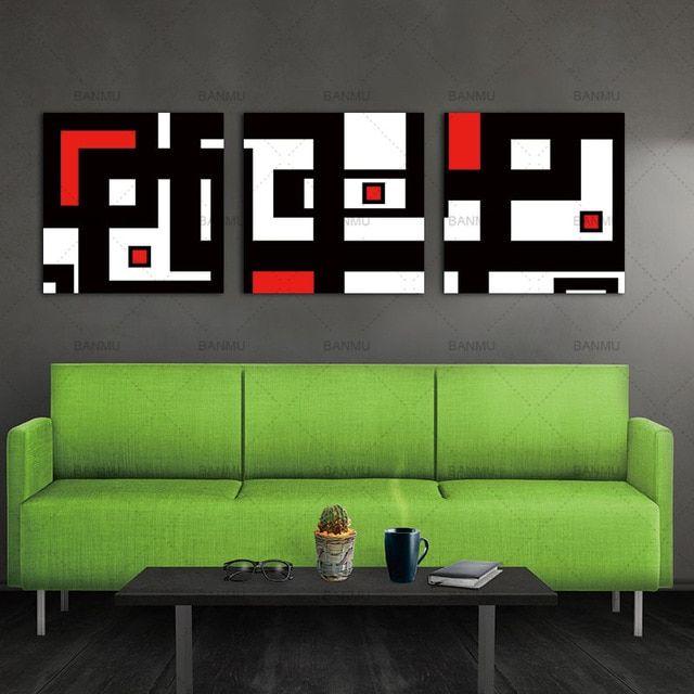 Lukisan Minyak Di Atas Kanvas Lukisan Dinding Seni Deor untuk Ruang Tamu Merah Hitam Putih Dekorasi
