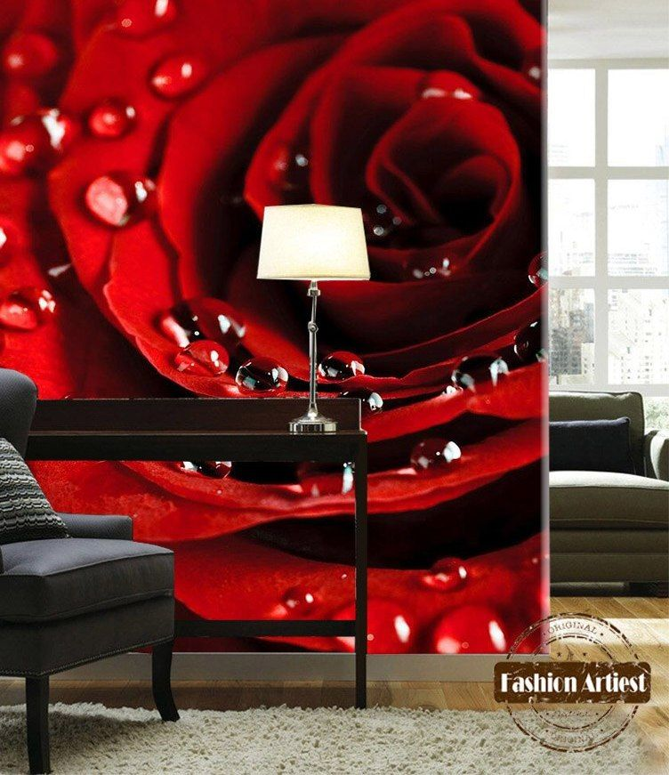Kustom 3d pagi embun merah rose flower blossom wallpaper mural sofa kamar tidur ruang tamu cafe bar restaurant latar belakang