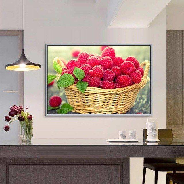 Dekorasi Rumah Bermanfaat Buah Buahan 5d Berlian Lukisan Cross Stitch Disisipkan Raspberry