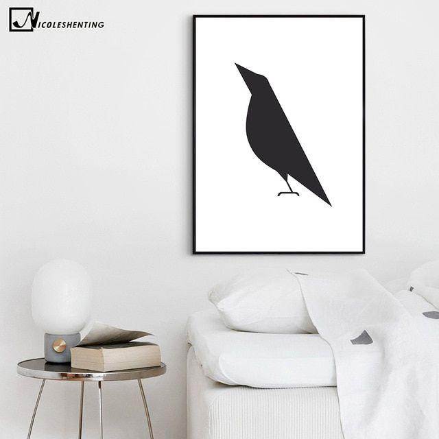 Dekorasi Rumah Minimalis Terbaik Gagak Burung Minimalis Art Kanvas Poster Lukisan Abstrak Hitam Putih