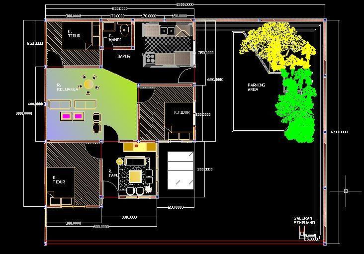 Gambar Pelan Rumah Menarik Design Rumah Tinggal Denah Rumah Tinggal Ukuran 12 X 15 Di Lahan