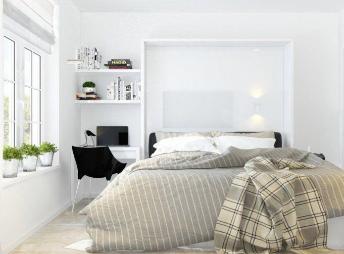 Seperti dalam semua kawasan apartmen kecil dua bilik warna utama bilik tidur berwarna putih