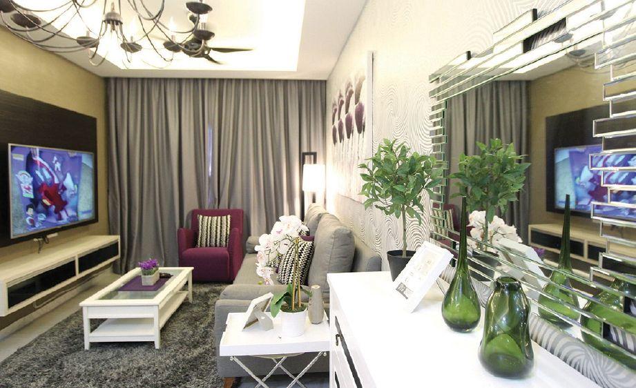 Hiasan dalaman ruang tamu ringkas apartment