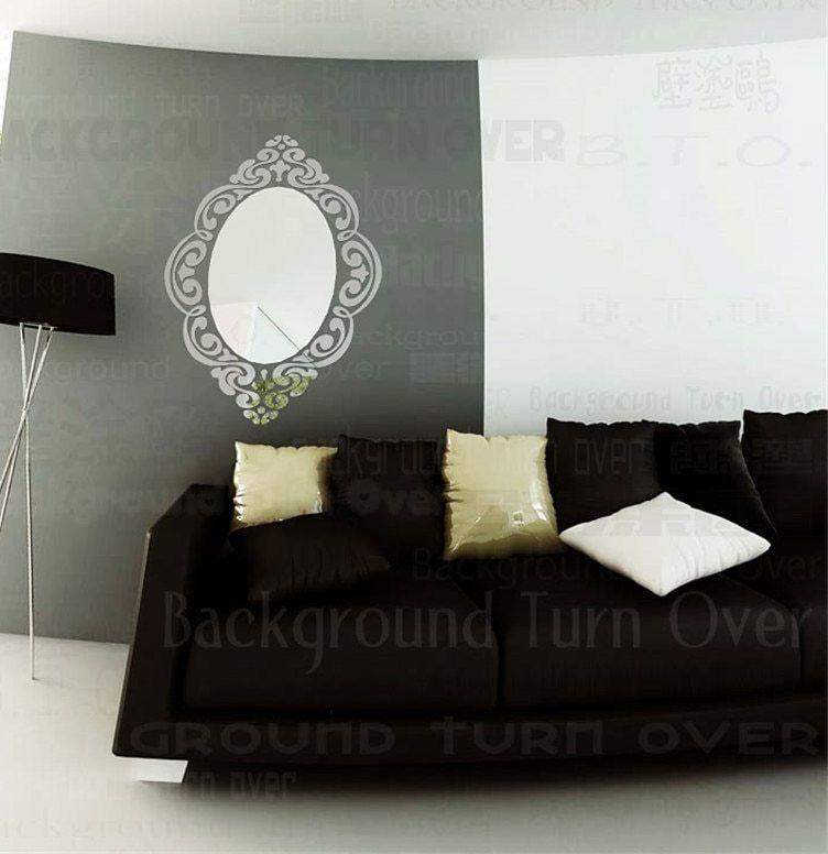 46 Pcs set Gaya Eropa Elegan Bingkai Cermin Lonjong Totem Antik Stiker Dinding Kamar Tidur Sofa Corner Dekorasi R009