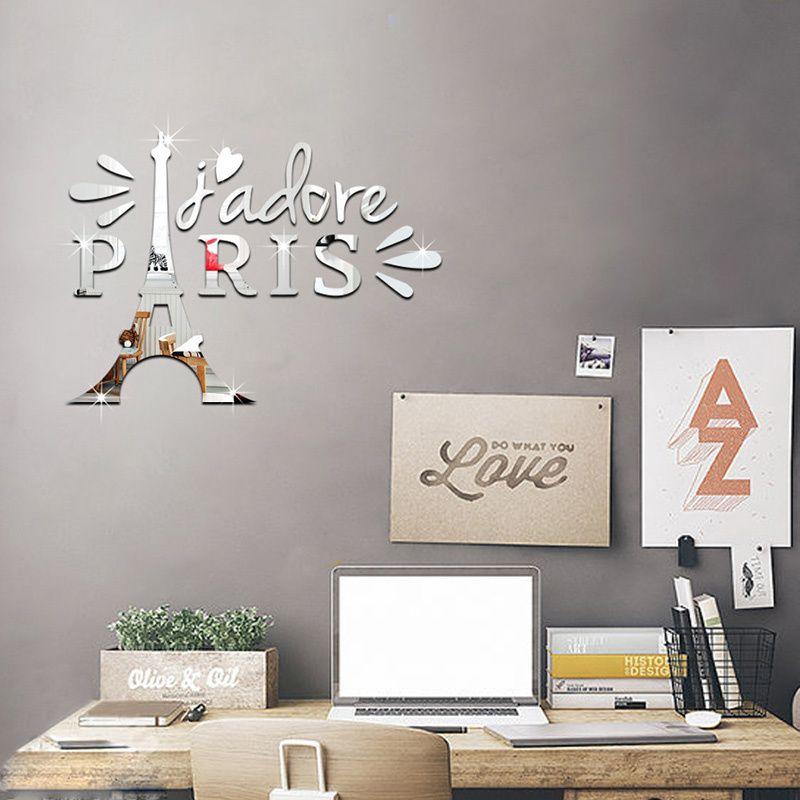 Hiasan Dalaman Gaya Eropah Bernilai Keythemelife 1 Set Eropa Gaya Acrylic Cermin Stiker Menara Eiffel Di