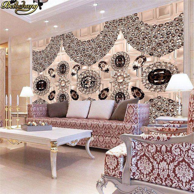 Hiasan Dalaman Gaya Eropah Meletup Beibehang Kustom Wallpaper Foto Cokelat Diamonds Eropa 3d Stereo