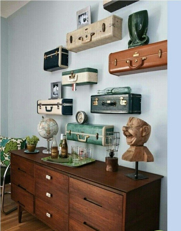 Luggage as wall shelves reall cool shelving idea Perhaps carve wood on base of shelves to look like luggage vintage style