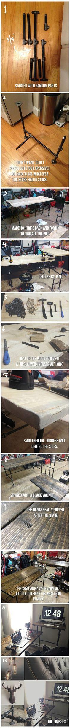 DIY Black Iron Pipe Standing Sitting Desk Imgur Perabot Rumah Meja Hiasan