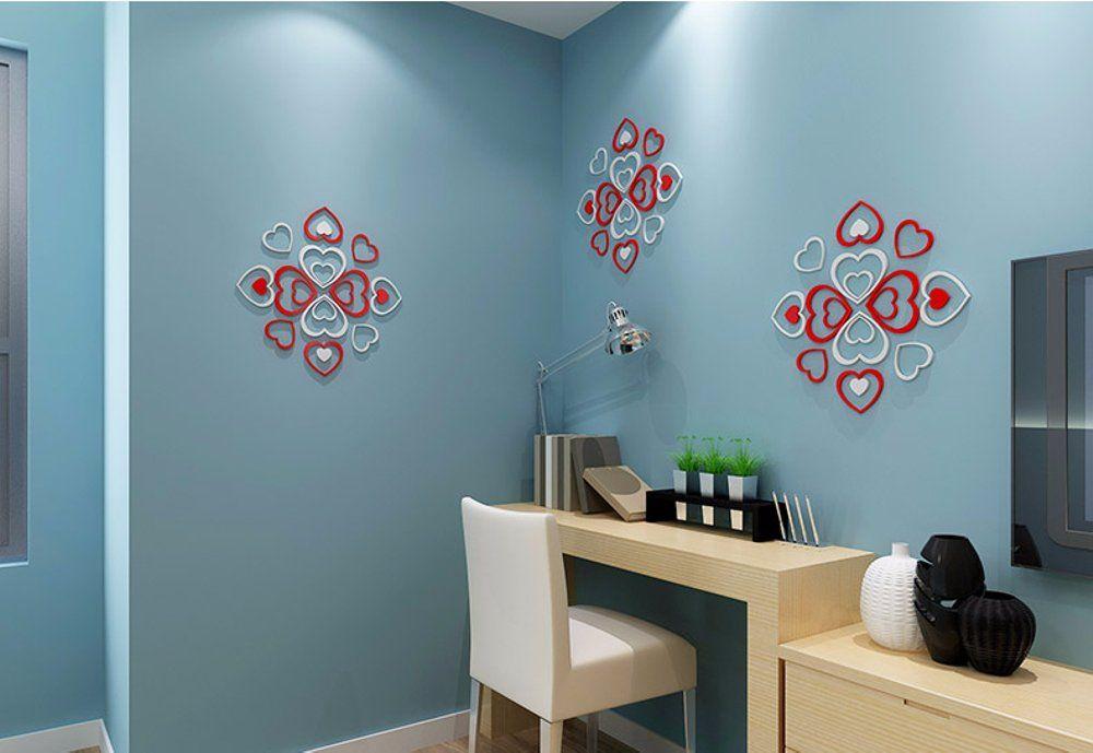 Hiasan Dalaman Kayu Pine Terbaik Jual 3d Love Wall Stick Tempelan Hiasan Dinding Kayu solid Di
