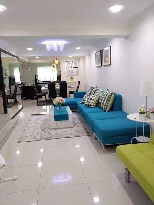 Renovasi Rumah Teres Kos Rendah Kepada Dekorasi Mewah Dan Moden Avec Hiasan Dalaman Rumah Teres Et 863 2 25 Ruang Tamu Hiasan Dalaman Rumah Teres Interior