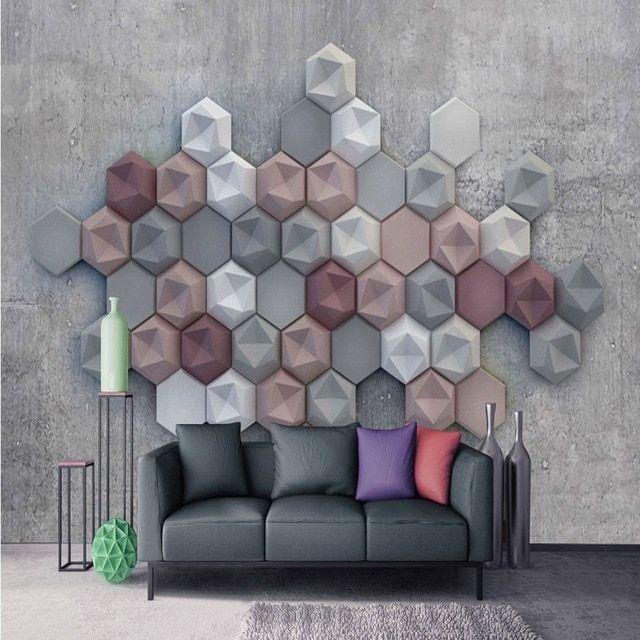 Hiasan Dalaman Ruang Tamu Bermanfaat Foto Wallpaper Kreatif Polygon Semen Dinding Latar Belakang