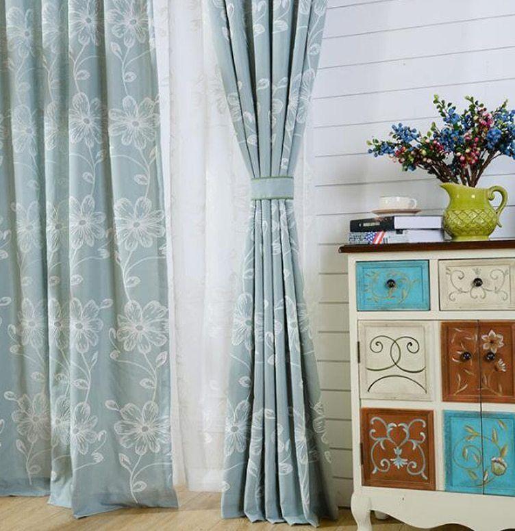 Bordir Tirai Dekorasi Rumah Modern Tirai untuk Ruang Tamu Pedesaan Bunga Tirai untuk Kamar Tidur Putih Sheer WP003 30