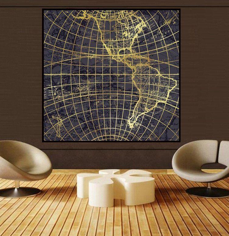 Hiasan Dalaman Ruang Tamu Rumah Kampung Terhebat ᗕpenjualan Eksklusif Peta Gaya Seni Lukisan Dinding Minyak Lukisan