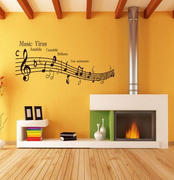 MAARYEE Virus Musik Stiker Dinding DIY anak Dekorasi Kamar Wallpaper Ruang Tamu Kamar Tidur Dekorasi Rumah Vinyl Decals Poster