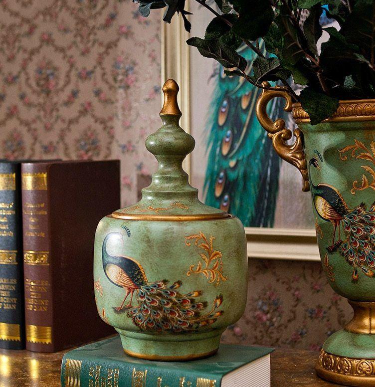 Biru Bulu Burung Merak Keramik Tangki Penyimpanan Amerika Eropa Ruang Tamu Dekorasi Rumah Dekoratif Desktop Furnishing
