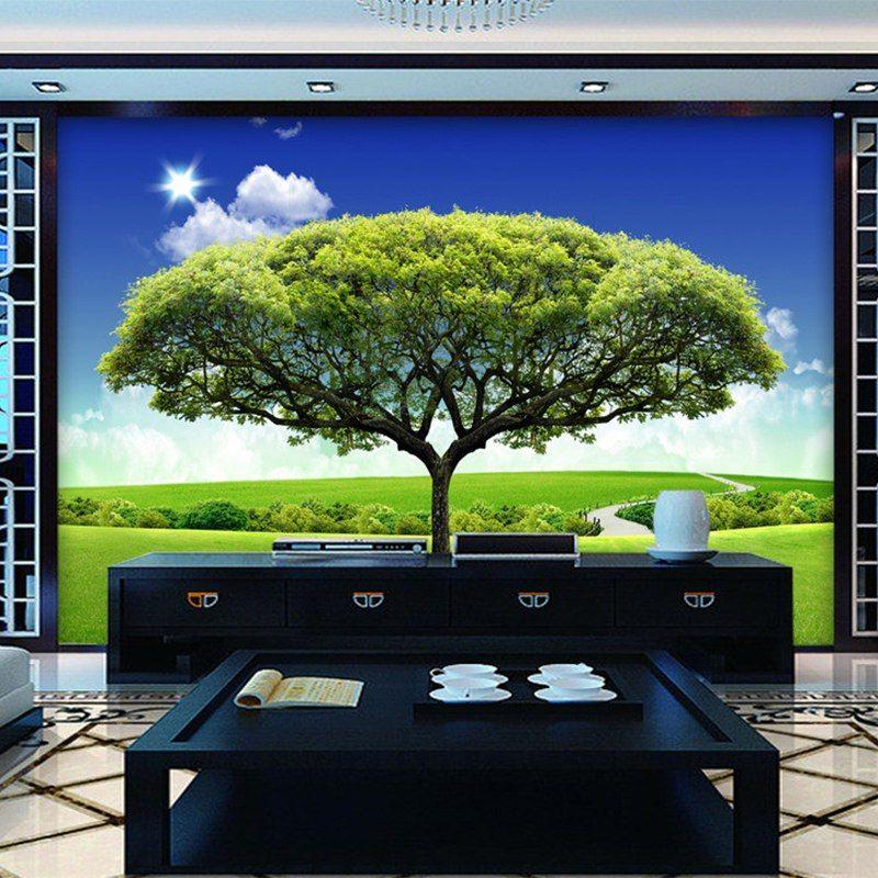 Hijau Pohon Dinding Latar Belakang TV 3D Dinding Mural Wallpaper Roll Ruang Tamu Theme Hotel Dekorasi Rumah Papel De Parede 3D Sala di Wallpaper dari