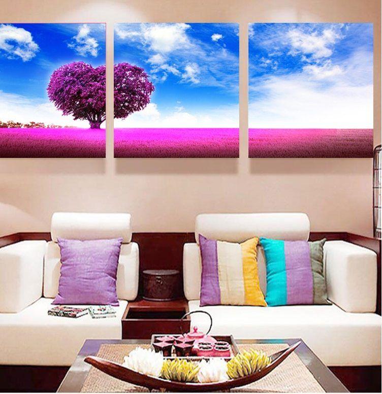 Hiasan Dalaman Rumah Flat Kecil Berguna 3 Panel Biru Langit Ungu Jantung Pohon Kanvas Lukisan Rumah Dekorasi