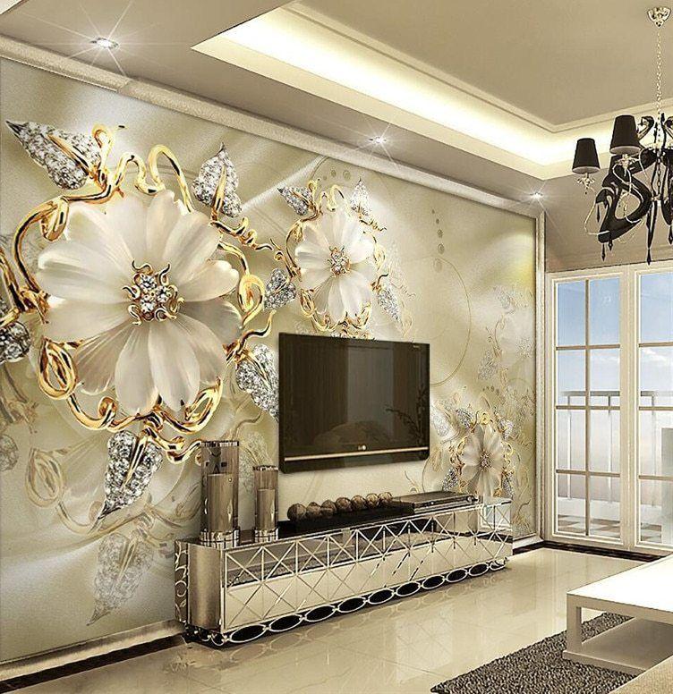 Panel dinding Wallpaper Marmer Berlian Perhiasan Rose Latar Belakang Modern Eropa Art Mural untuk Ruang Tamu Besar Lukisan Dekorasi Rumah