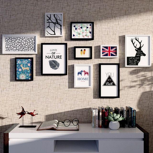 Modern Bingkai Foto Kayu dengan Gambar 10 Piece Kombinasi Rumah Hiasan Dinding Menggantung Bingkai Lukisan Gambar