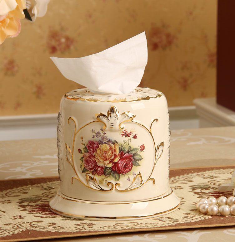 Otentik Mewah C kelas atas emas keramik kreatif kotak tisu memompa tray dekorasi perabotan retro