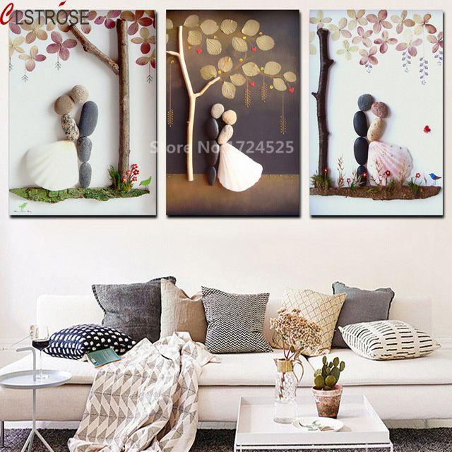 Clstrose Abstrak Bunga Batu DIY Couple Kanvas Lukisan Minimalis Seni Poster Dinding Gambar untuk Ruang Tamu