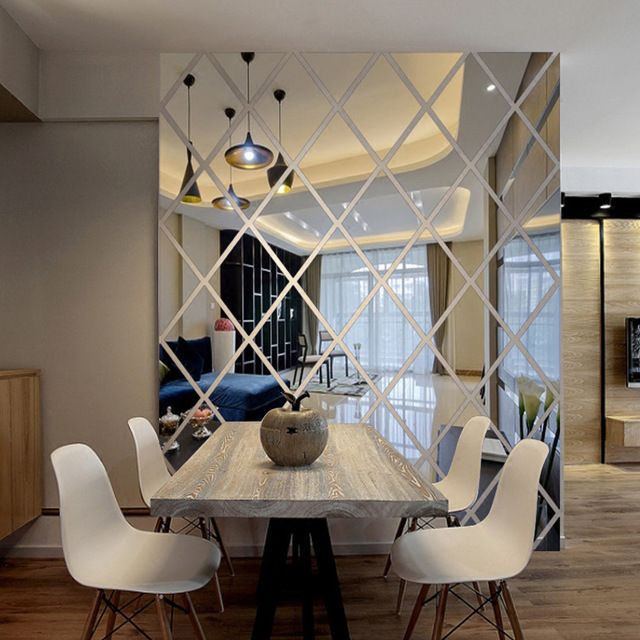Hiasan Dalaman Rumah Ruang Tamu Power Berlian Segitiga Dinding Seni Cermin Akrilik Stiker Dinding Dekorasi