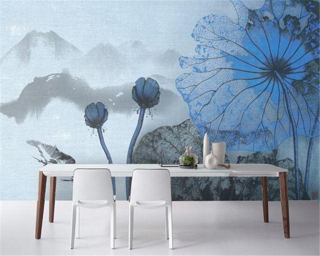 Beibehang 3D Wallpaper Dekorasi Rumah Ruang Tamu TV Latar Belakang Cina Suya Lotus Daun Dekorasi Wallpaper