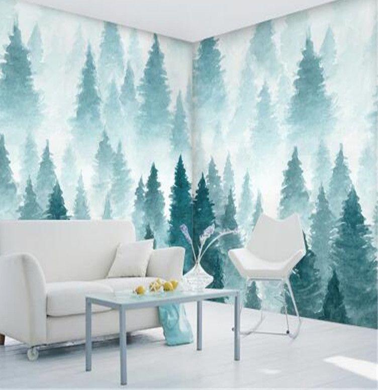 Foto Kustom Wallpaper untuk Dinding 3D Mural Alam Pohon Kertas Dinding untuk Ruang Tamu Rumah Dekorasi Lanskap Dilukis dengan Tangan wallpaper