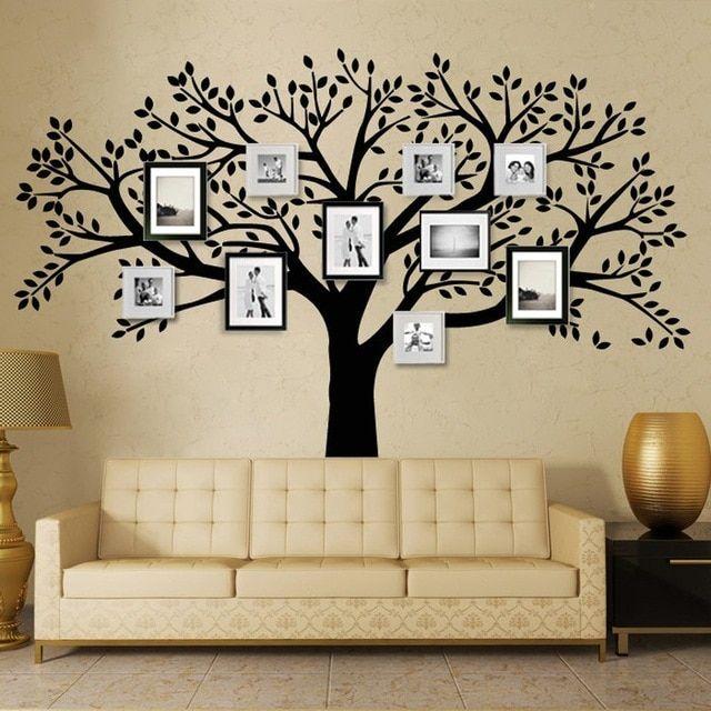 Hiasan Dalaman Rumah Studio Penting B16 Keluarga Pohon Dinding Decals Vinyl Dinding Decal Bingkai Foto