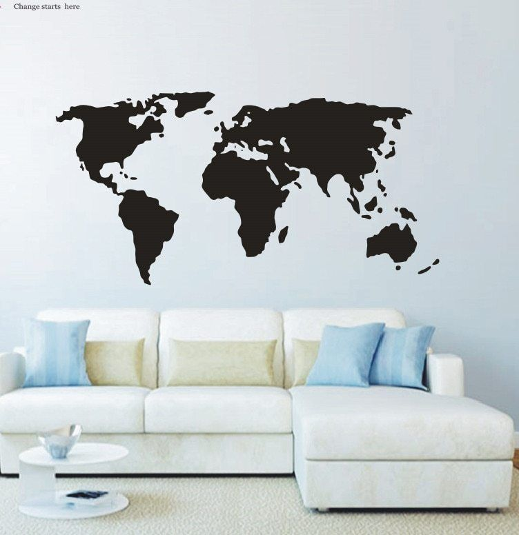Hiasan Dalaman Rumah Studio Terbaik ■Peta Dunia Wall Decals Vinyl Stiker Dekorasi Rumah Anak Ruang