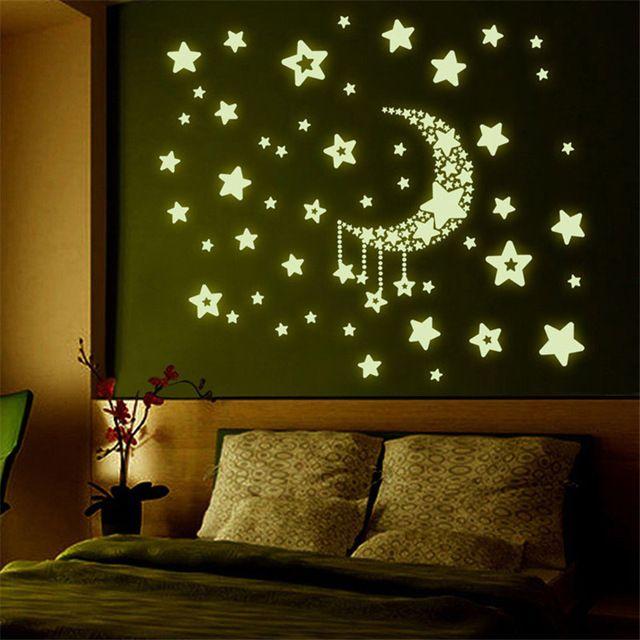 Stiker Dinding Dekorasi Rumah Bintang Bulan Langit Malam Noctilucence Menyala Dalam Gelap untuk Kamar Anak