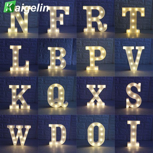 26 Huruf Putih LED Marquee Tanda Alfabet Malam Lampu Hiasan Dinding Cahaya Malam Untuk Pesta Pernikahan