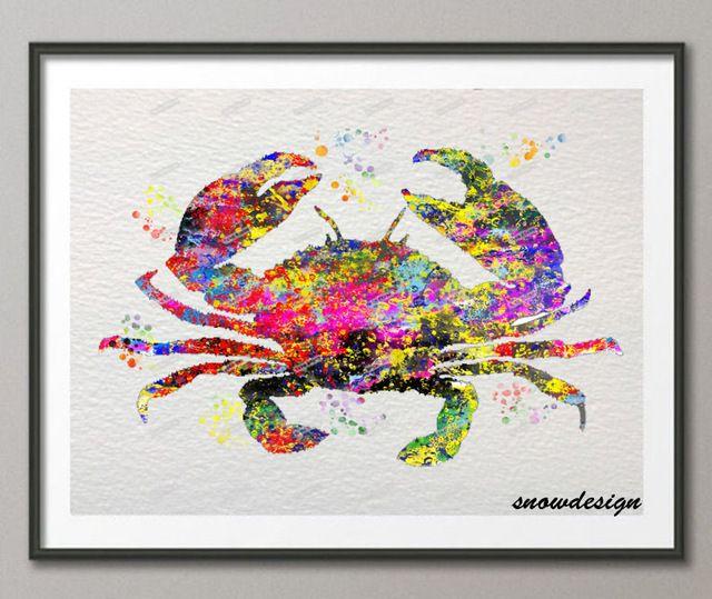 Kepiting DIY cat air Asli wall art kanvas lukisan poster mencetak Gambar ruang tamu Dekorasi Rumah