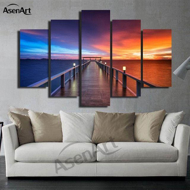 5 Panel Gunung Berapi Lukisan Pemandangan Gunung Gambar Sunset Cetak Kanvas Modern Dekorasi Rumah Dinding Seni