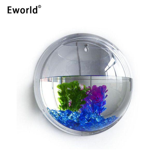 Eworld Akrilik Mangkuk Ikan Hiasan Dinding Aquarium Tank Aquatic Pet Supplies Pet Produk Tanaman Dinding Tangki