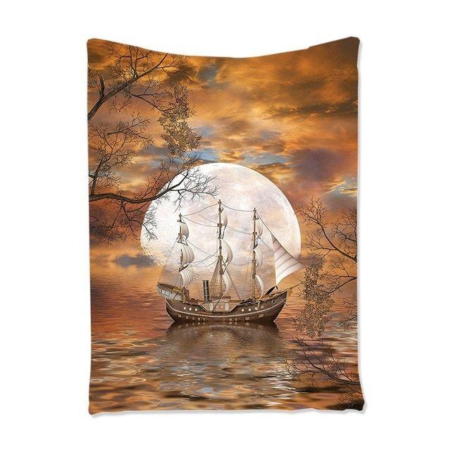 Perahu layar Art Bulan Purnama Lukisan Permadani Hiasan Dinding untuk Ruang Tamu Kamar Tidur Remaja Kamar