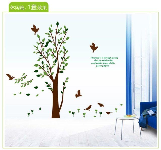 Hiasan Ruang Tamu Rumah Berguna Pohon Dinding Stiker Untuk sofa Televisi Latar Belakang Ruang Tamu