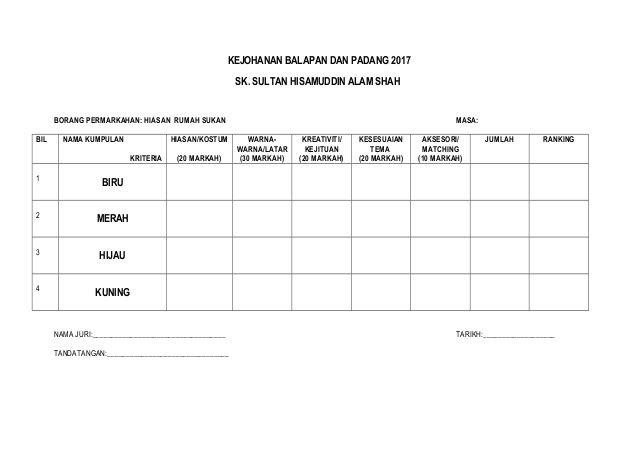 Hiasan Rumah Sukan Hijau Menarik Borang Permarkahan Sukan 2012